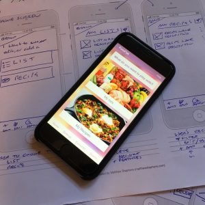 Smart phone displaying the 50 minute app homepage options for List and Recipe