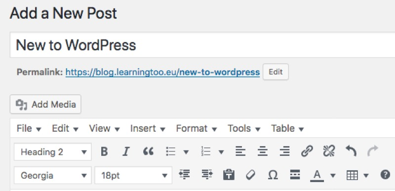 Screen grab of the WordPress visual UI for formatting content