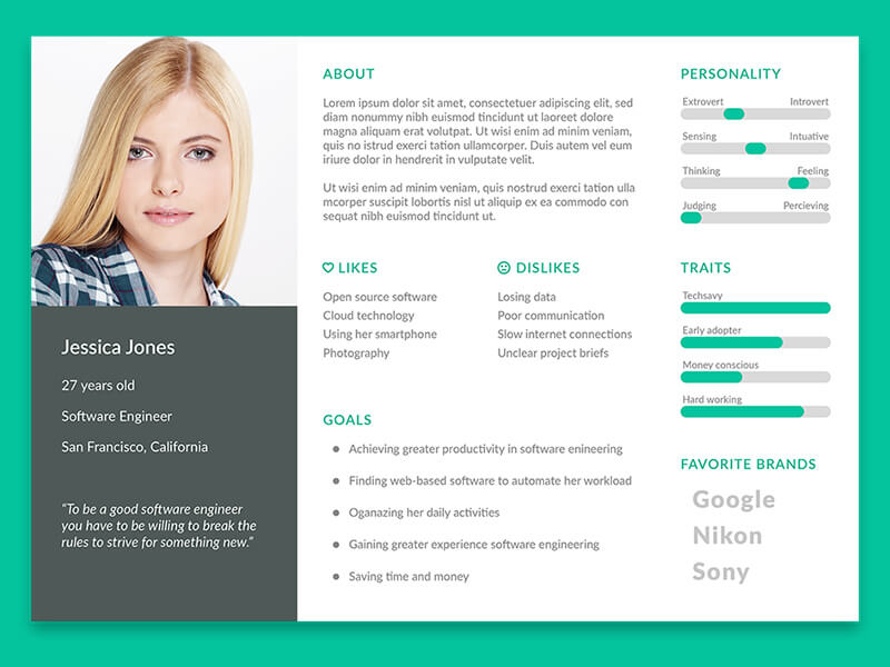 a single page persona layout with avatar, personal and psychological attribute lists