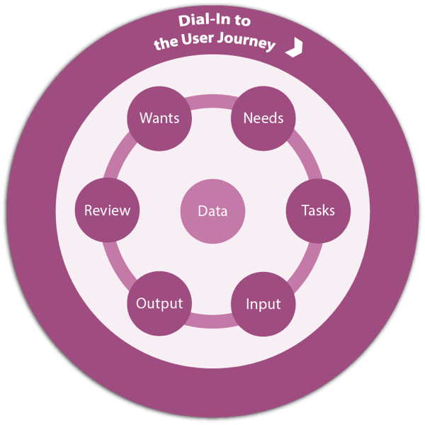 Pat Godfrey's Basic User Journey cycle of Wants, Needs, Tasks, Input, Output, and Review circling data.