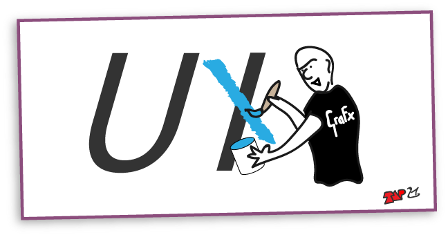 Cartoon of graphic designer changing the letters UI into UX
