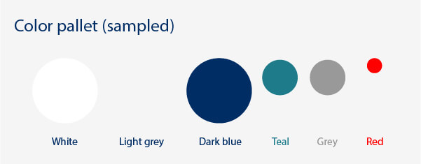 The Ulster bank app color pallet uses white, greys, dark blue and teal with occaisional red