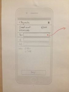 A paper wireframe of the Payments page of the improved banking app