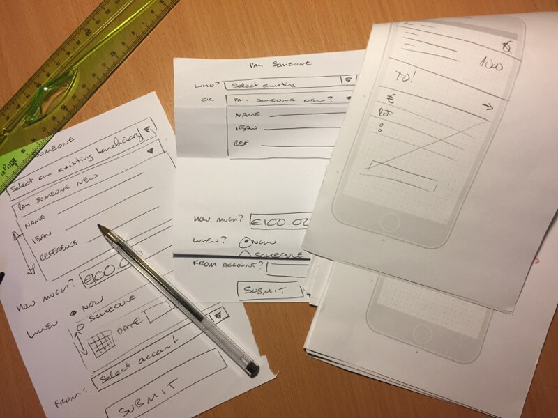 sketches used to analyse the payments flow