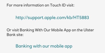 screen shot of the Ulster Bank inconsistent link styles on the same Touch ID information page