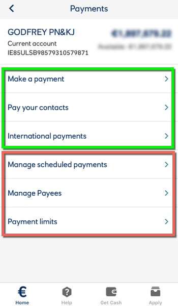 screen grab of the Ultser Bank app Payments page overlaid to show what items to remove