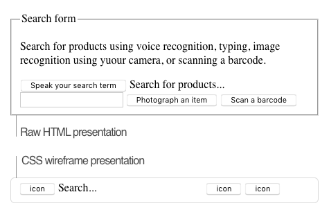 screen grab of an html wireframe of the search interaction