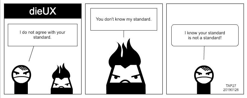 cartoon of designers disagreeing over standards