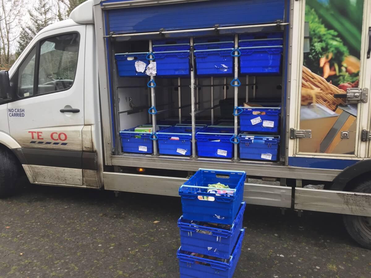 Unloading a Tesco delivery van