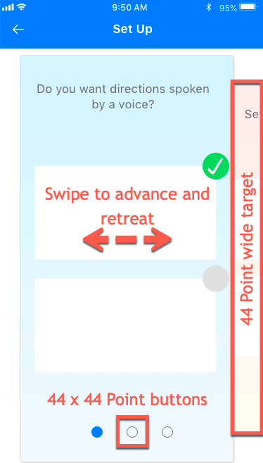 screen grab of the prototype set up page tap targets of minimum 44 Points with navigation at bottom, swipable are, and transparent side next and previous buttons.
