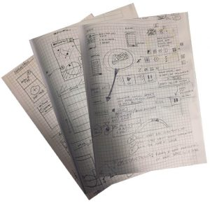 note paper with UI sketching