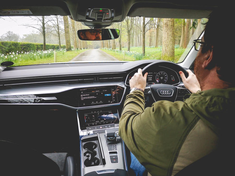 The right hand side driving position experienced in the UK with the console on the driver's left.