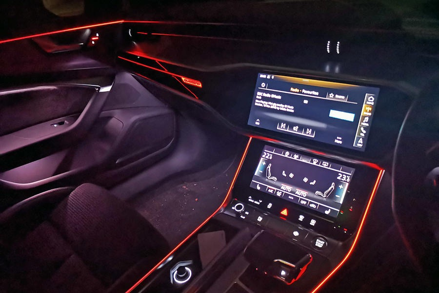 Audi A6 automotive digital screen consoles at night