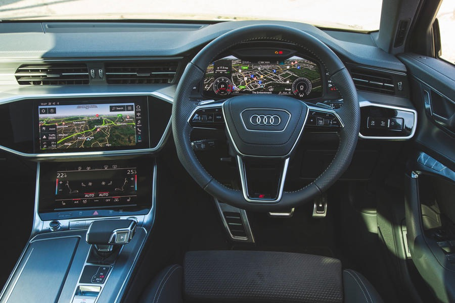 Audi car cockpit with touch displays