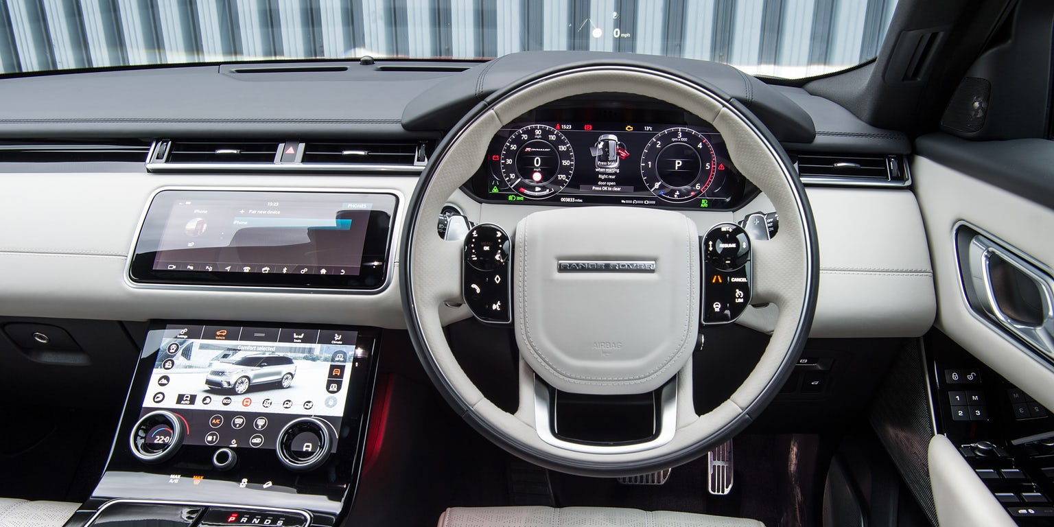 Range Rover Velar right hand drive cockpit with all displays turned on