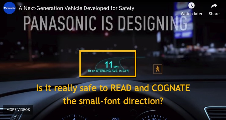 Is it really safe to read and cognate the small-font direction on the Panasonic automotive head up display?