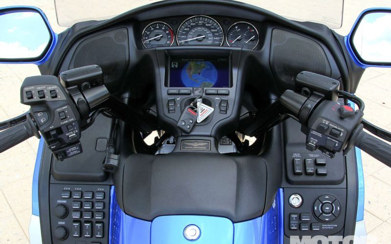 The earlier gl1800 motorcycle cockpit with arrays of buttons and dials