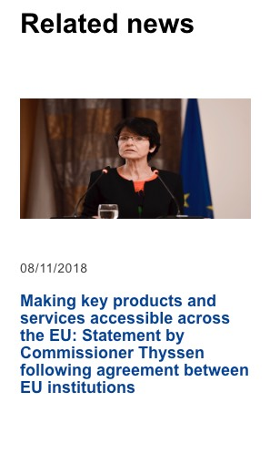 a link block design comprising an image, a date, and copy text of, Making key products and services accessible across the EU: Statement by Commissioner Thyssen following agreement between EU institutions