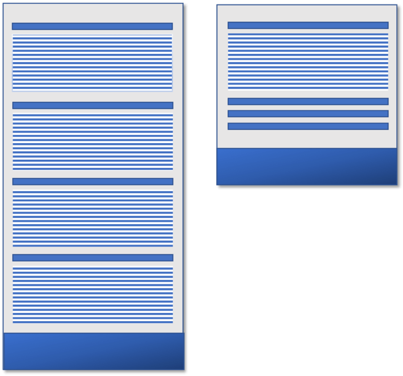 comparing a page with four sections of content showing against a page with only one expanded section of an accordion pattern of four sections.