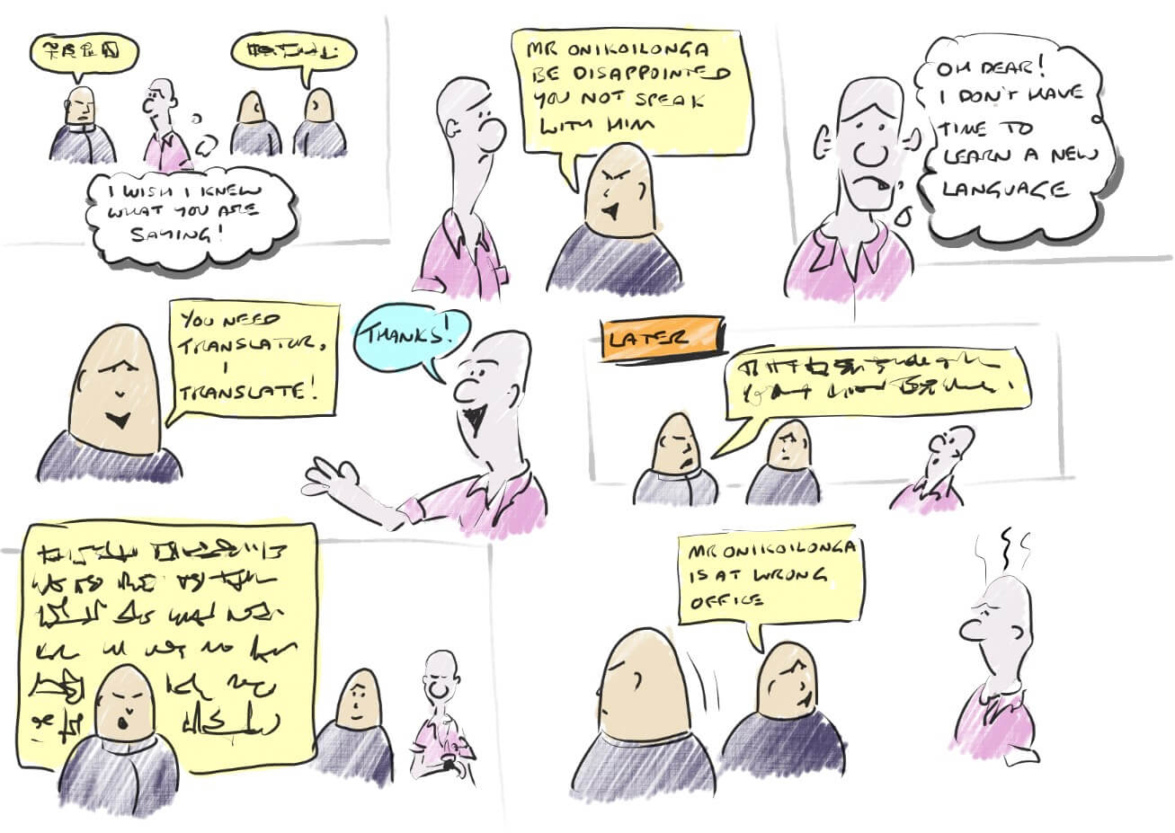 storyboard cartoon by the author of how translation doesn't always give us our answer