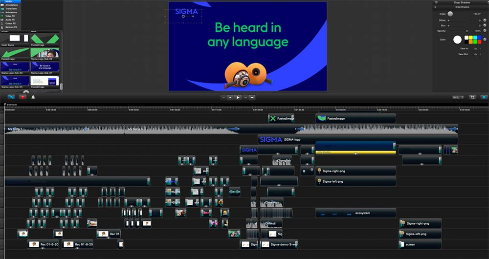 screen grab from camtasia video editing software