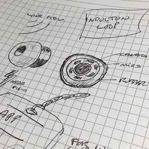 final sketching of ear bud with sensors